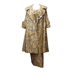 Mr Blackwell 1960s Gold Brocade Evening Dress and Coat