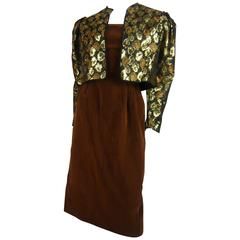 1980s Guys Laroche Floral Brocade Bolero w Brown Velvet Dress