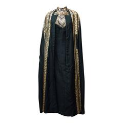 1960s Black and Gold Lamé Evening Dress and Cloak