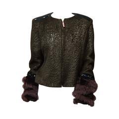 1990s Christian Lacroix Jacket With Fox Fur Trim