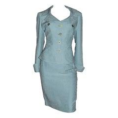 1990s Christian Lacroix Powder Blue Two Piece Skirt Suit