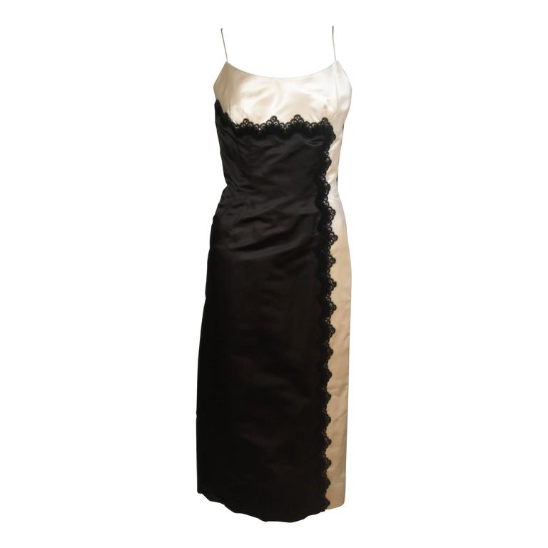 OLEG CASSINI Black and White Contrast Cocktail Dress with Lace Size 2-4