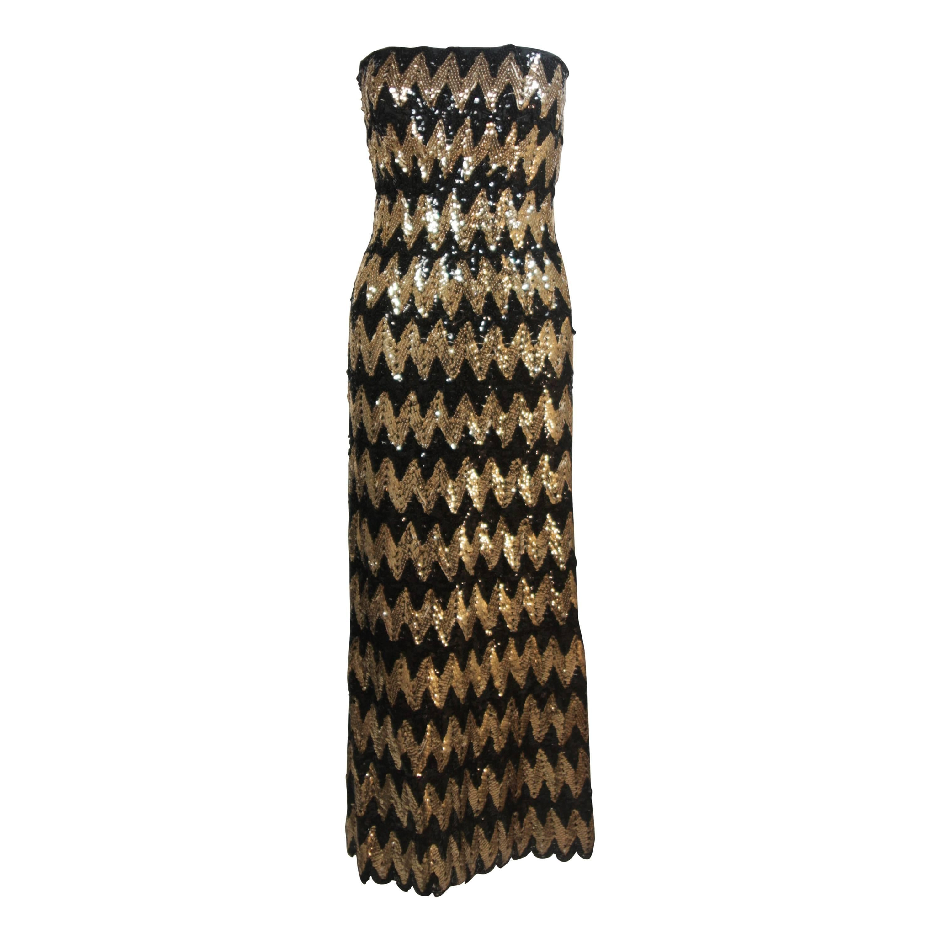 SCAASI Strapless Black and Gold Knit Sequin Gown Size 2-4