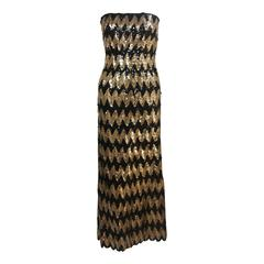 SCASSI Strapless Black and Gold Knit Sequin Gown Size 2-4