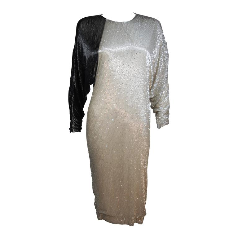 1980's Vintage Black & Silver Silk Cocktail Dress with Batwing Sleeves SIze 4-6