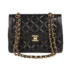 1990s Chanel Black Quilted Lambskin Limited Edition Vintage Single Flap Bag