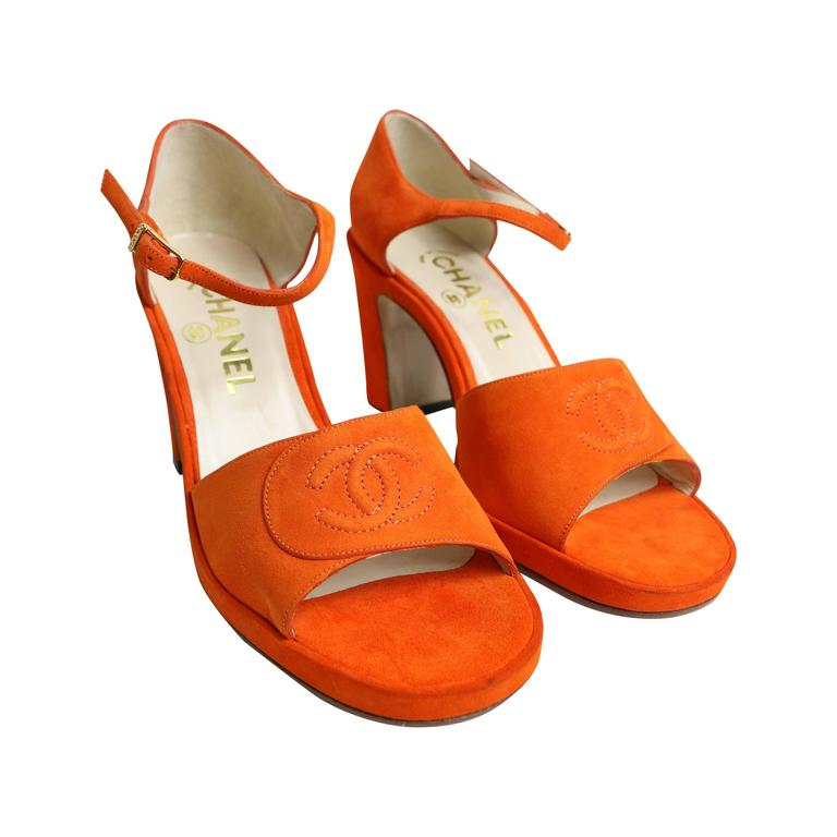 Chanel Orange Suede Strap Sandals  For Sale