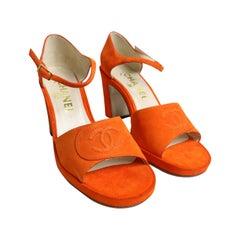 Chanel Orange Suede Strap Sandals