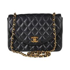 1990s Chanel Black Quilted Lambskin Vintage Single Flap Bag