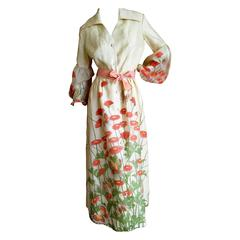 Alfred Shaheen Butterfly and Flower Print Dress with Bishop Sleeves
