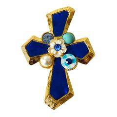 1980s Christian Lacroix Cross Pendent Brooch