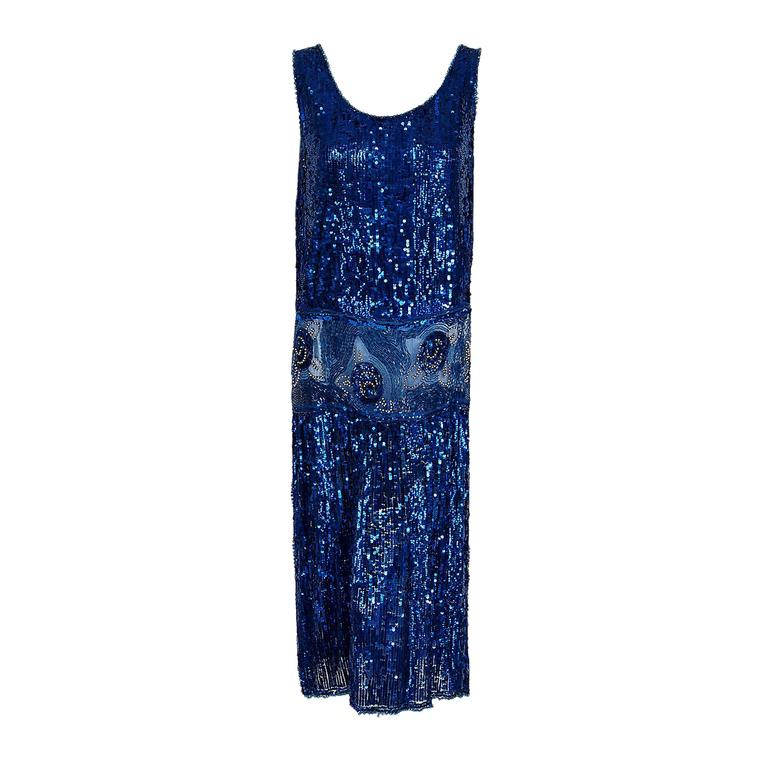 1920's French Sapphire-Blue Sequin Beaded Floral Motif Art-Deco Flapper Dress  1