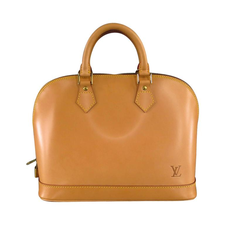 LOUIS VUITTON Natural Vachetta Patina Leather ALMA PM Top Handles Bag For Sale