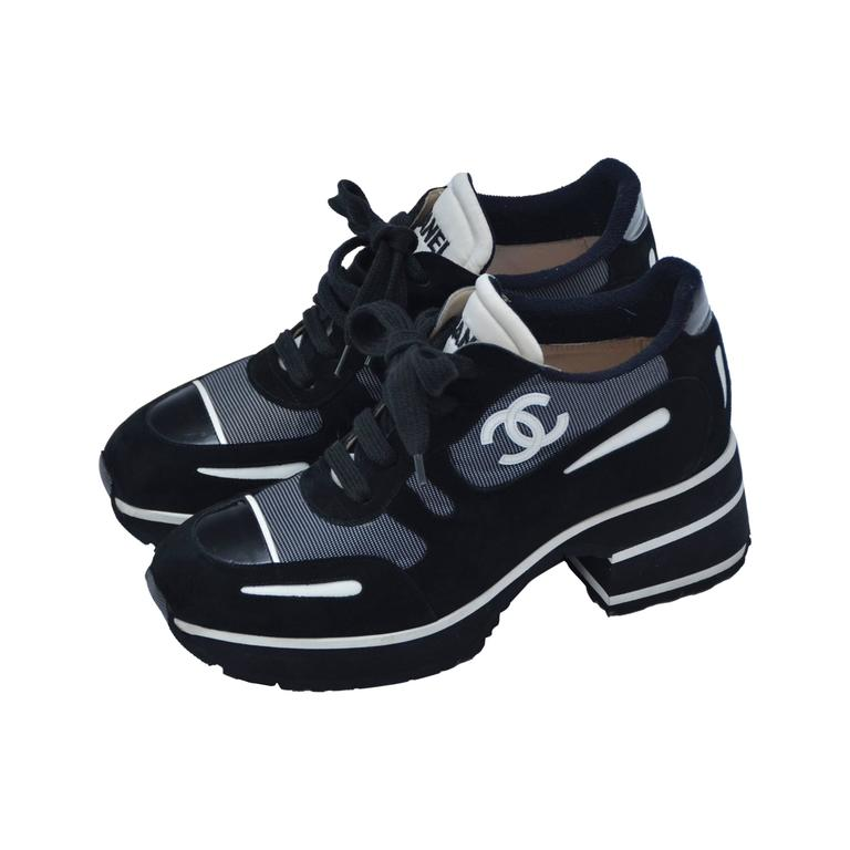 CHANEL  1997 Platform Black/White Shoes Sneakers New 38.5 1