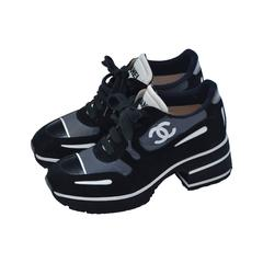 CHANEL  1997 Platform Black/White Shoes Sneakers New 38.5