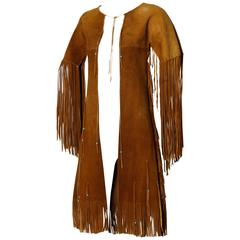 Traditionally Hand-Crafted Vintage Native American Buckskin Fringe Coat