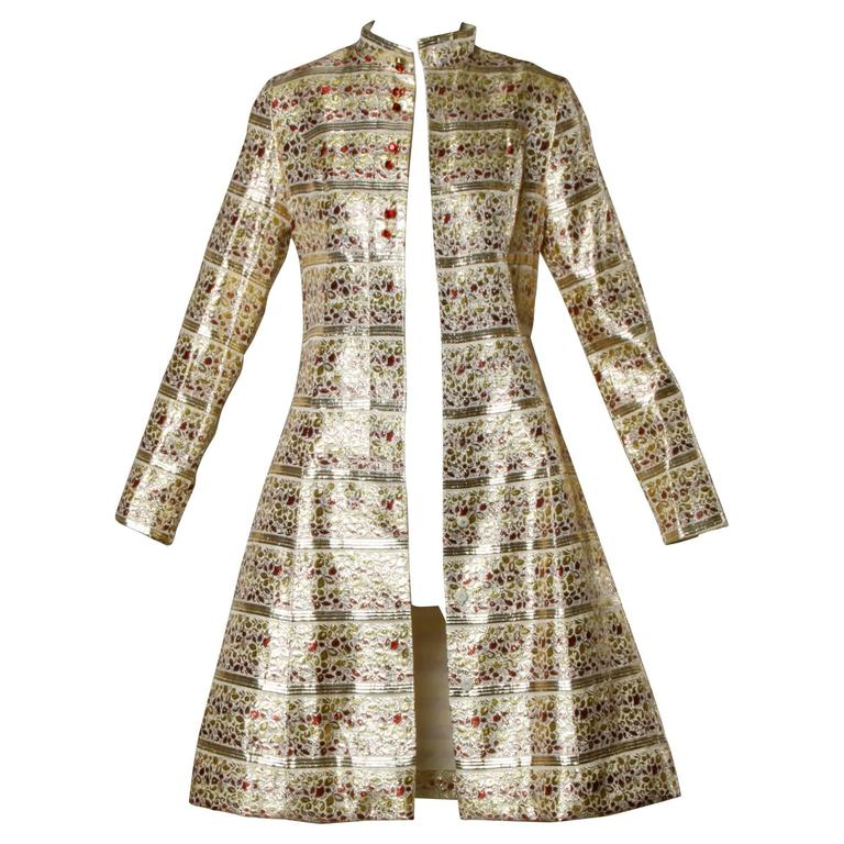 Saks Fifth Avenue Vintage 1960s Metallic Brocade Rhinestone Coat For Sale