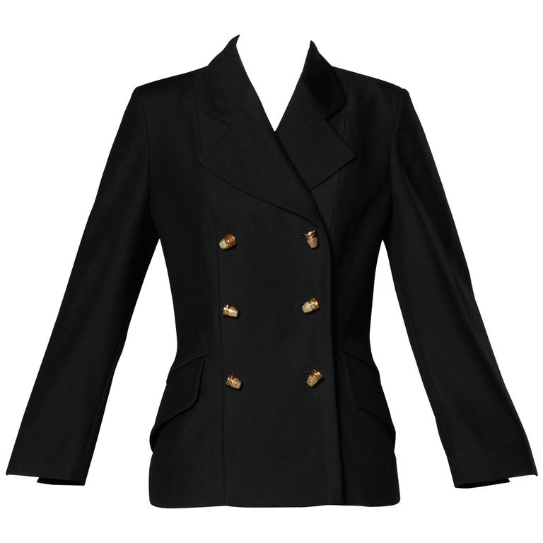 "Moschino Vintage 90s Black Blazer Jacket with Novelty ""Thimble"" Buttons 1"