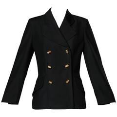 "Moschino Vintage 90s Black Blazer Jacket with Novelty ""Thimble"" Buttons"