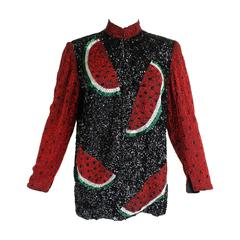 1980s Heavily Beaded Watermelon Motif Jacket