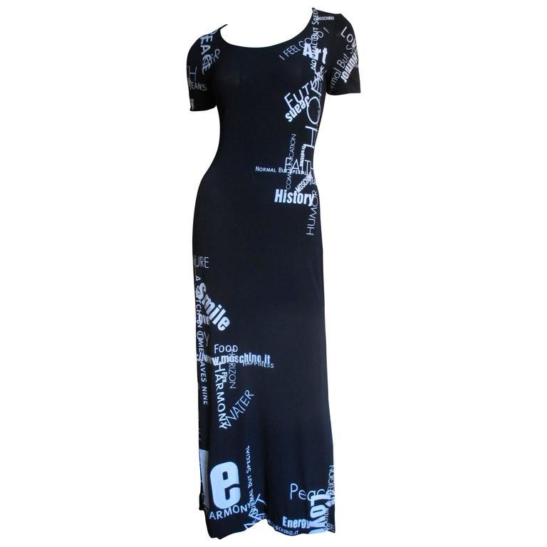 1990s Moschino Words & Phrases Printed Maxi Dress 1