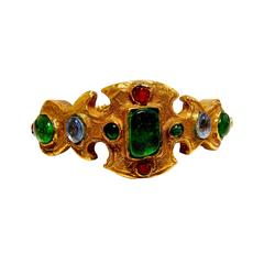 Vintage Chanel Bracelet Etruscan Haute Couture with Poured Glass Goossens 1970s