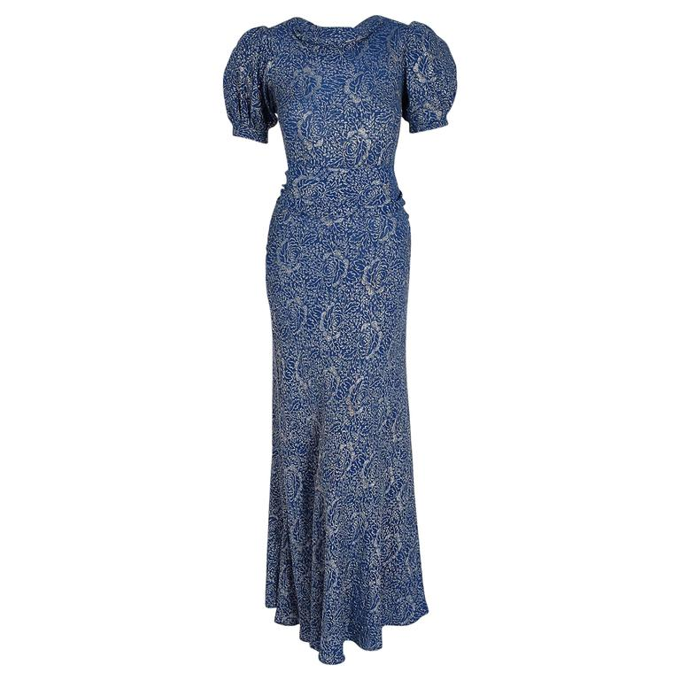 1930's Metallic Blue-Roses Floral Lame Belted Puff Sleeve Bias-Cut Evening Gown
