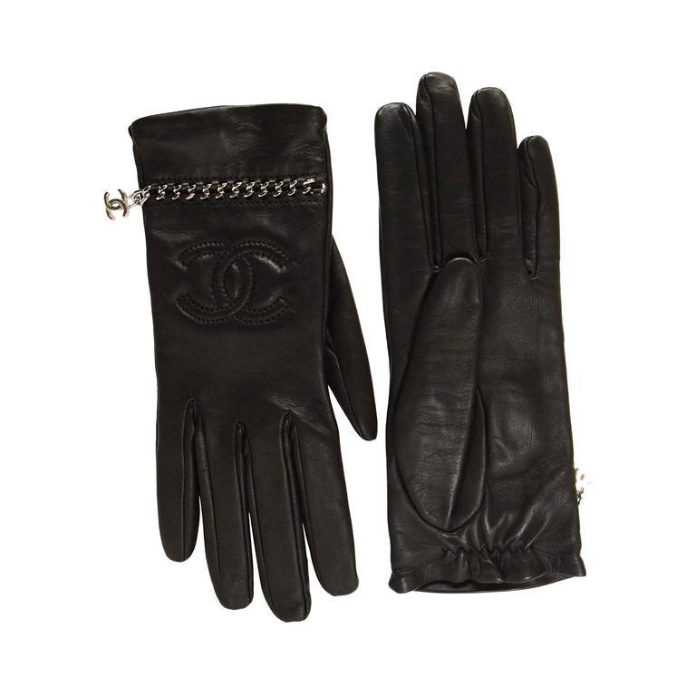 Chanel Black Leather CC Gloves w/ Silver Chain Through sz ...