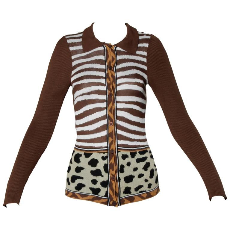 Kenzo Animal Print Button Up Knit Cardigan Sweater For Sale