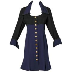 Louis Feraud Vintage Wool Coat Dress with Military Style Buttons