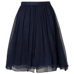 Saint Laurent Vintage Layered Navy Blue Silk Chiffon Skirt