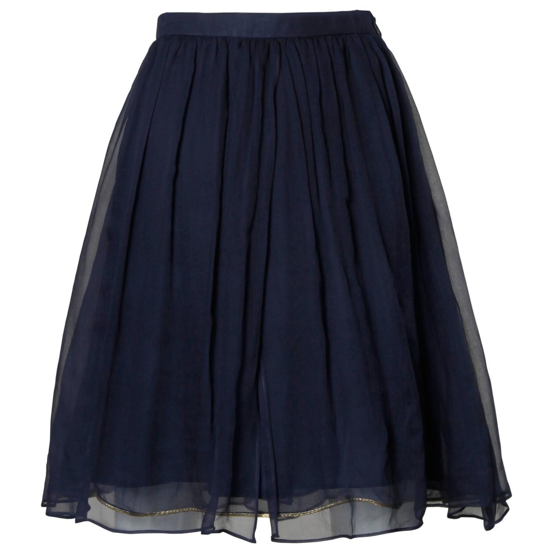 laurent vintage layered navy blue silk chiffon skirt