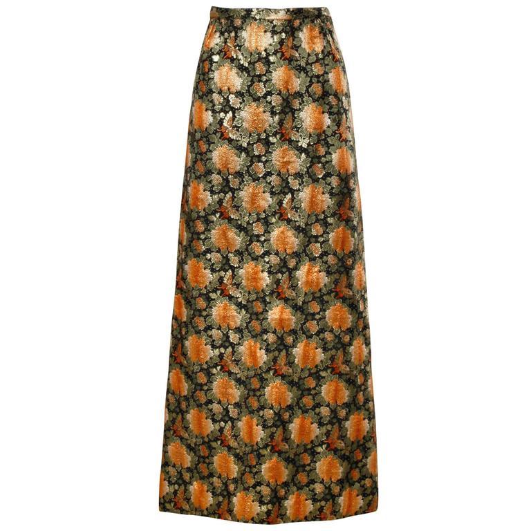 1960s Vintage Metallic Brocade Maxi Skirt