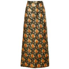 1960s Vintage Metallic Brocade Maxi Skirt