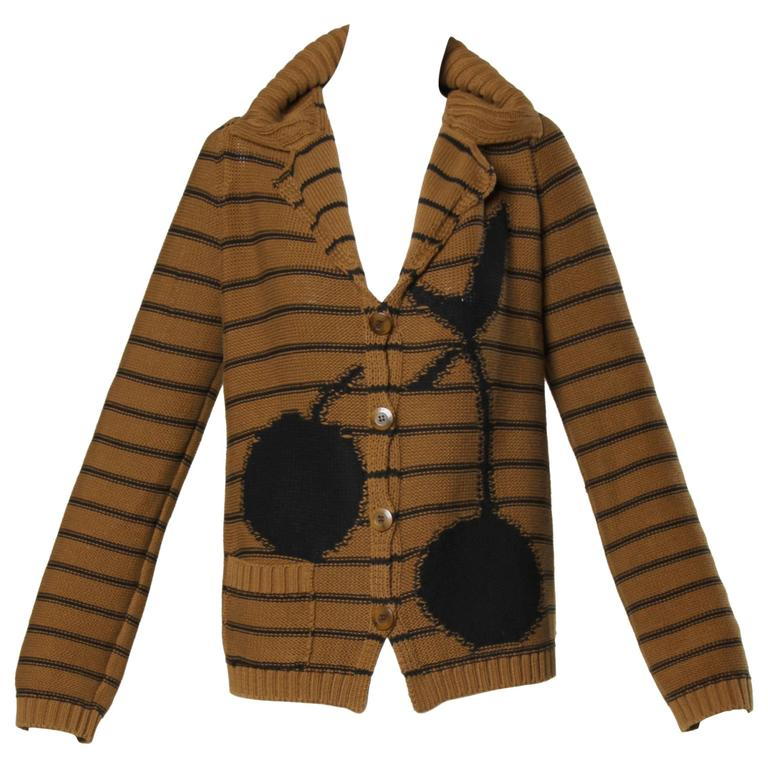 Sonia Rykiel Brown Striped Knit Cardigan Sweater with Black Cherries Design
