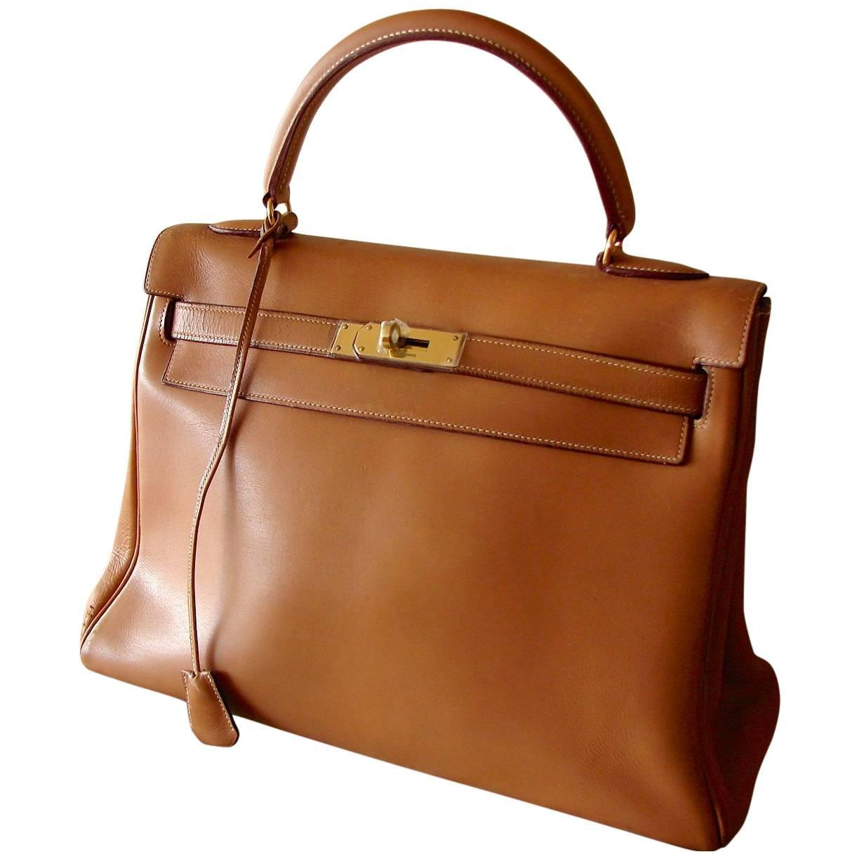 89ad5f9d4d95 1960s Hermes Kelly 32cm Bag Gold Box Leather + Shoulder Strap Bonwit Teller  Rare at 1stdibs