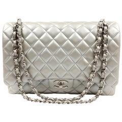 Chanel Matte Silver Lambskin Maxi Classic Flap Bag