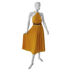 Vionnet Runway Deco Inspired Goldenrod Halter Silk Dress  NWT