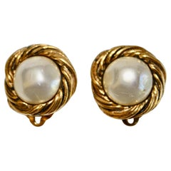Vintage Chanel Pearl and Gold Clip Earrings