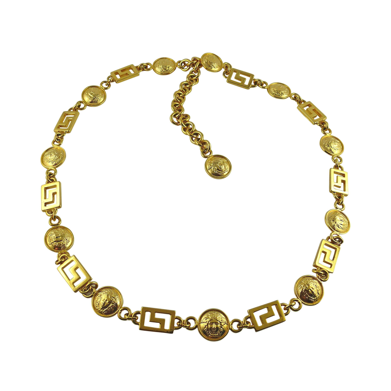 Gianni Versace Vintage Iconic Medusa Chain Belt Necklace 1990s