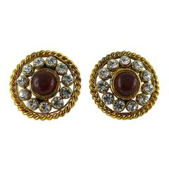 Chanel Vintage Red Gripoix and Diamante Clip-On Earrings