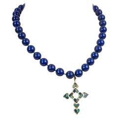 Inlaid Sterling Silver Crucifix Blue Agate Pendant Necklace