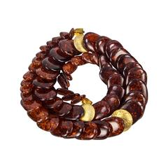 Long and Fabulous Amber Disc Bead Necklace