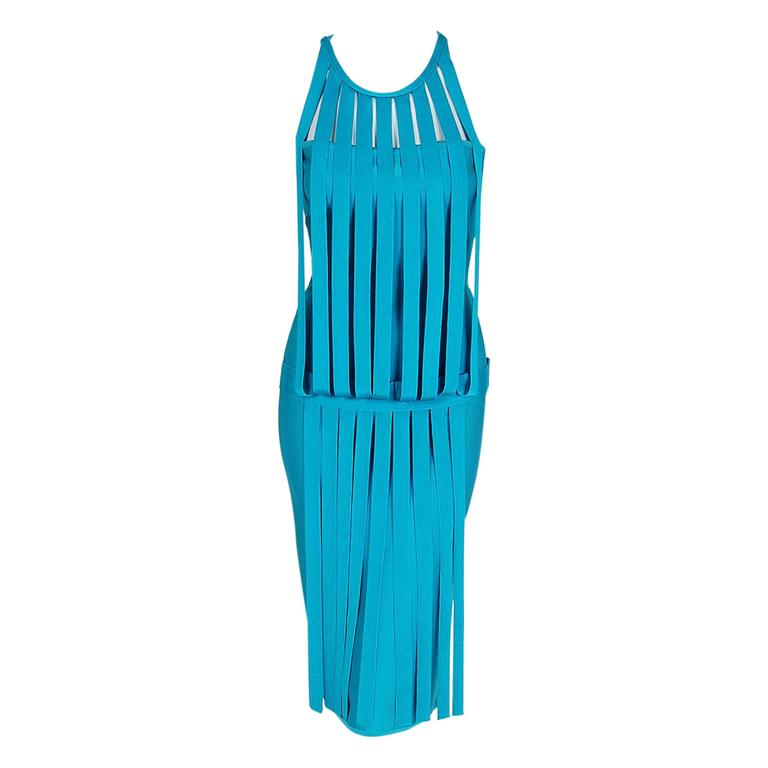 1990's Herve Leger Runway Turquoise Blue Knit Birdcage Cut-Out Bodycon Dress For Sale