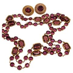 Chanel Amethyst Sautoir Necklace with Matching Earrings Set 1981