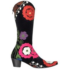 Ethnic Gypsy Style Embroidered Boots 1960s