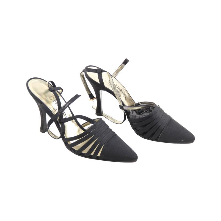 CHANEL Vintage Black Canvas SLINGBACK PUMPS Heels SHOES w/ BOX sz 39 1/2