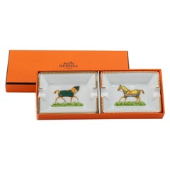New Hermes Pair Horse Small Ashtrays in Box