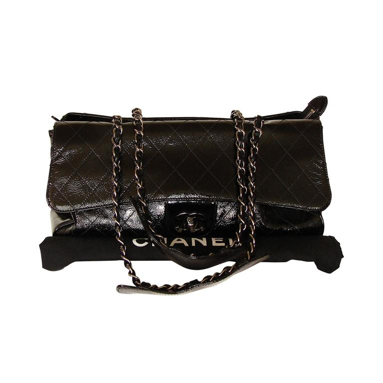 '2005 Chanel Ritz Bag Clutch Black Patent Leather Removable Silver Chain Straps  1