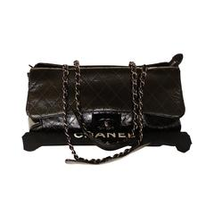 '2005 Chanel Ritz Bag Clutch Black Patent Leather Removable Silver Chain Straps